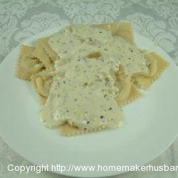 Crab Ravioli with a Wine Cream Sauce